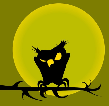 black owl sitting on a branch against a yellow moon;  Vector