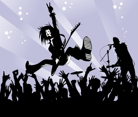 rock musician with a guitar in the jump shows a victory sign;  Vector