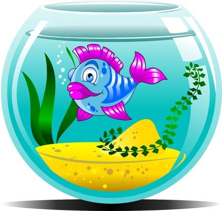 blue fish in the blue aquarium  vector illustration ;