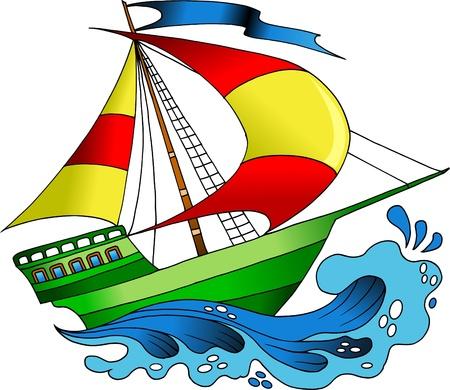 barco caricatura: hermosos barcos, de colores en la ilustraci�n de las olas del mar,