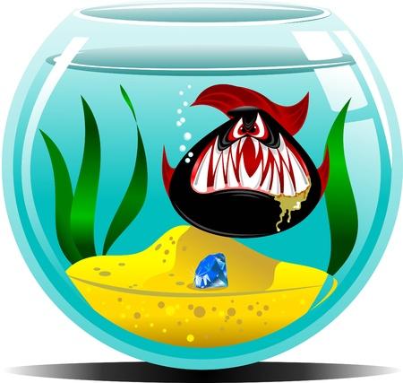gold fish bowl: black fish in the blue aquarium  vector illustration ;