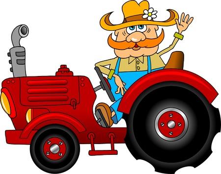 Jolly Farmer przechodzi na czerwonym ciÄ…gnikiem Ilustracje wektorowe