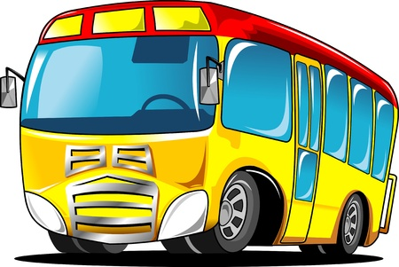 cartoon bus: little yellow school bus with a red roof