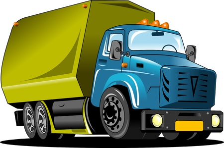 Large truck with a green body carries the load  vector illustration ;  Stock Vector - 13443074
