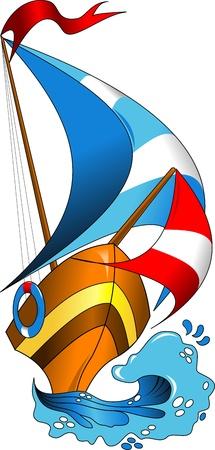 sailor: hermoso, colorido barcos en la ilustraci�n vectorial las olas del mar;