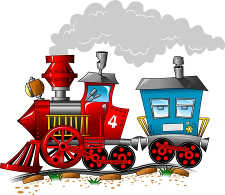 train cartoon: Red and blue locomotive carriage ride by rail