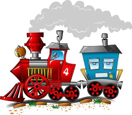 railway track: Rode en blauwe locomotief koets per spoor