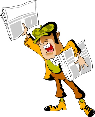 newsboy shouts of sensation on the streets of the city  vector illustration ;  Vector