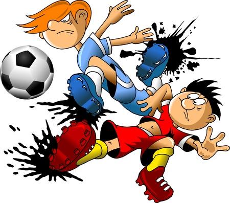 goal kick: soccer design element, green background Illustration