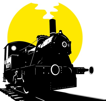sante: Silhouette of an old train. Steam Locomotive