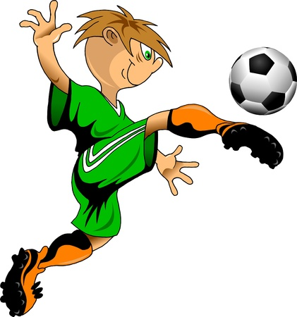 boy feet: soccer design element, green background Illustration