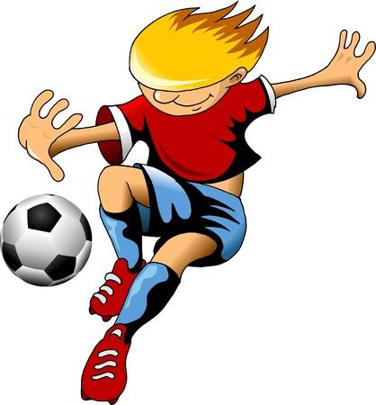male feet: soccer design element, green background Illustration
