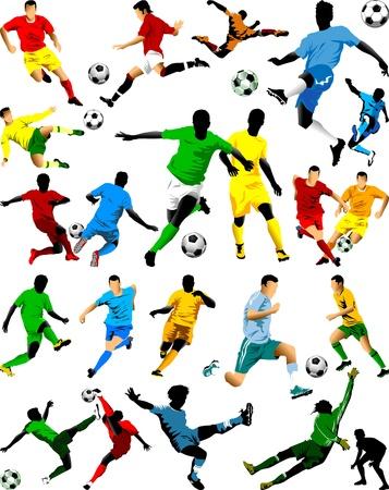 voetbal silhouet: verzameling van voetballers in verschillende posities Stock Illustratie