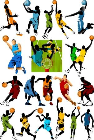 basketball net: jugador de baloncesto en el fondo de los anillos de baloncesto Vectores