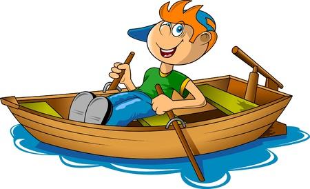 barco caricatura: pequeño pescador en un barco de la ilustración vectorial grande;