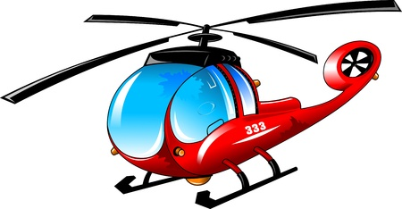 隔離された漫画のイラスト ホワイト バック グラウンド; 上でヘリコプターします。