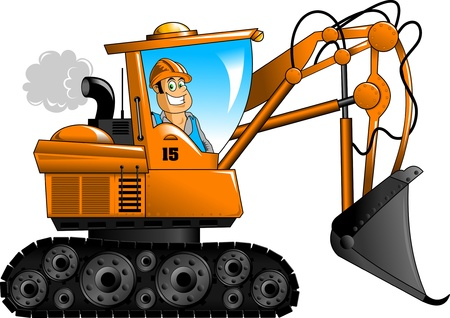 Bouw beheert oranje graafmachine vector illustratie; Vector Illustratie