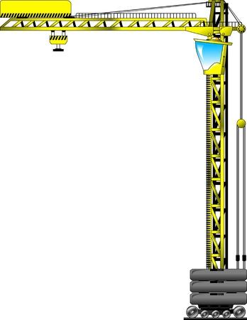hydraulic platform: gr�a de construcci�n aislados sobre fondo blanco, ilustraci�n vectorial;