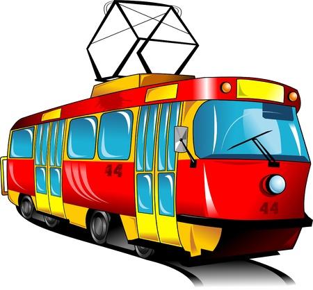 Red speelgoed tram rijdt op rails vector illustratie; Stock Illustratie