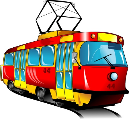 trolleybus: Red toy tram rides on rails  vector illustration ;