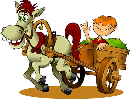 pony: Hay cart with cartoon farmer - vector illustration Illustration