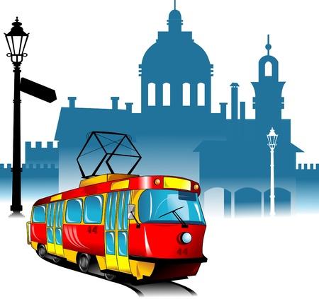 new tram rides through the old city quarter vector illustration ;