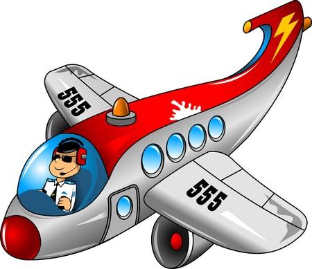 美しい飛行機パイロットの楽しみ  イラスト・ベクター素材