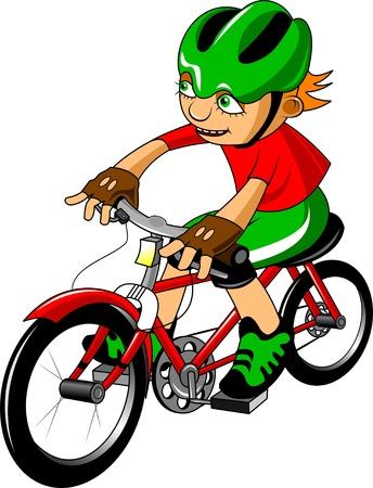 zapatos caricatura: Boy va montado sobre un casco de bicicleta en verde
