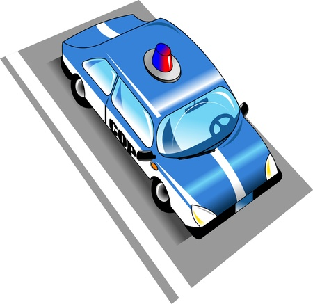 Illustration of a police car with siren   Vector
