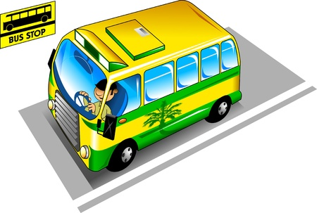 The yellow city bus pulls up to the bus stop;  Vector