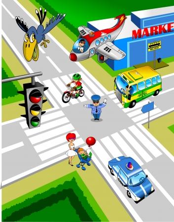 Stad kruising Een politieagent regelt het verkeer;
