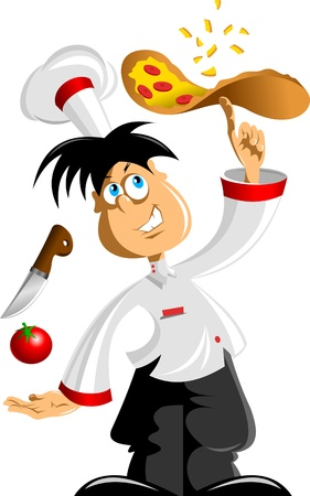 Illustration of an italian cartoon chef with a freshly baked pizza;