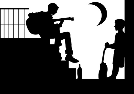 Two teenagers playing guitar while sitting on the stairs;  Vector