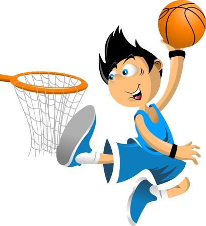 košík: Barevné ilustrace basketbalový hráč hází míč do koše;