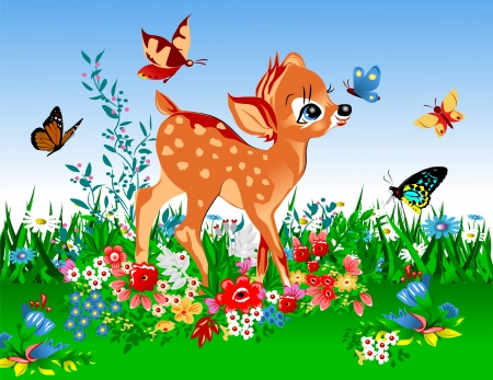 smallest deer in the spring meadow full of flowers and butterflies;  Vector