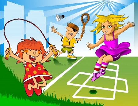 jump rope: Games in the playground  Children playing jump rope and badminton; Illustration