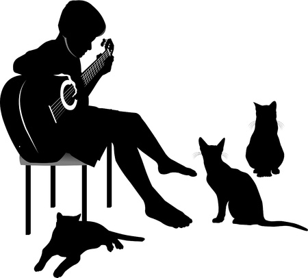 Cats listening to music played by the young guitarist;  Vector