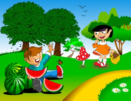 summer picnic in the meadow  A boy and a girl with watermelons with mushrooms Stock Vector - 14019564