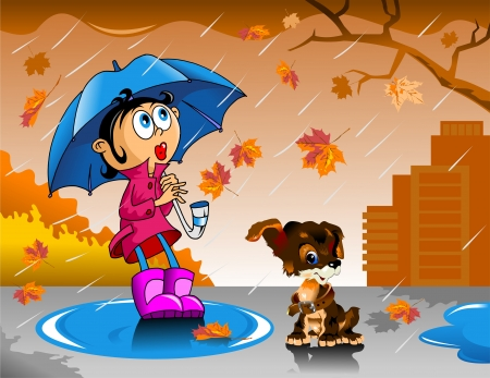 spring coat: little girl walking with an umbrella in the rain;  Illustration