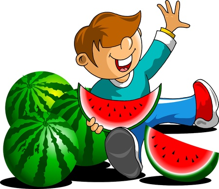 little boy with an appetite to eat more watermelon Stock Vector - 14019561