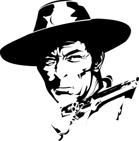 clip art draw: Sheriff stern looks away angrily while holding a revolver
