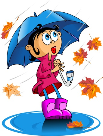 little girl walking with an umbrella in the rain Vector