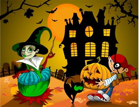 jongen en meisje in kostuum op Halloween zijn vector;
