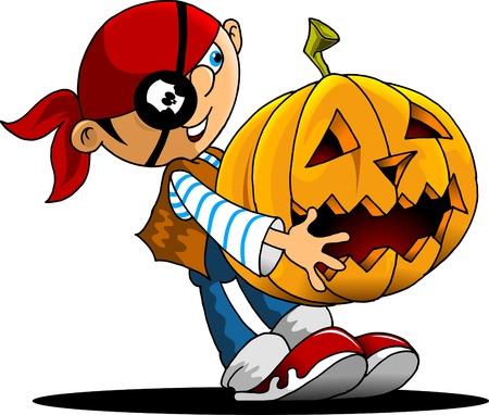 little boy dressed as pirate holding a pumpkin Vector