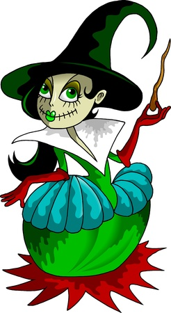 little girl with a magic wand to the witch costume;  Vector