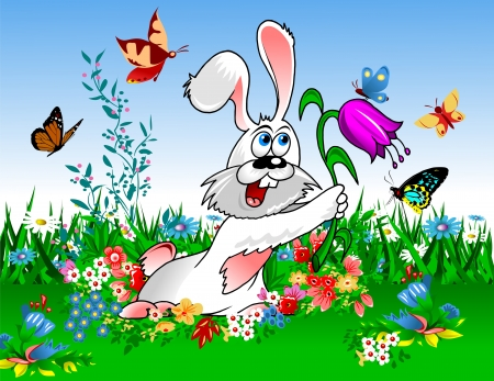 funny white rabbit picking flowers in the spring meadow;  Vector