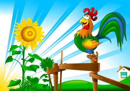 animal cock: bellissima canzone del gallo saluta l'illustrazione all'alba;