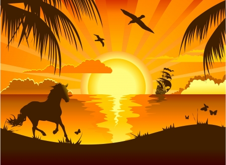 caballo de mar: Puesta de sol en el mar frente a la playa y la ilustración velero de baño; Vectores