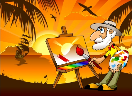 holiday vacation: Painter draws on the tablet a beautiful landscape  illustration ;  Illustration