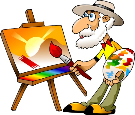 Painter draws on the tablet a beautiful landscape  illustration ;  Vector